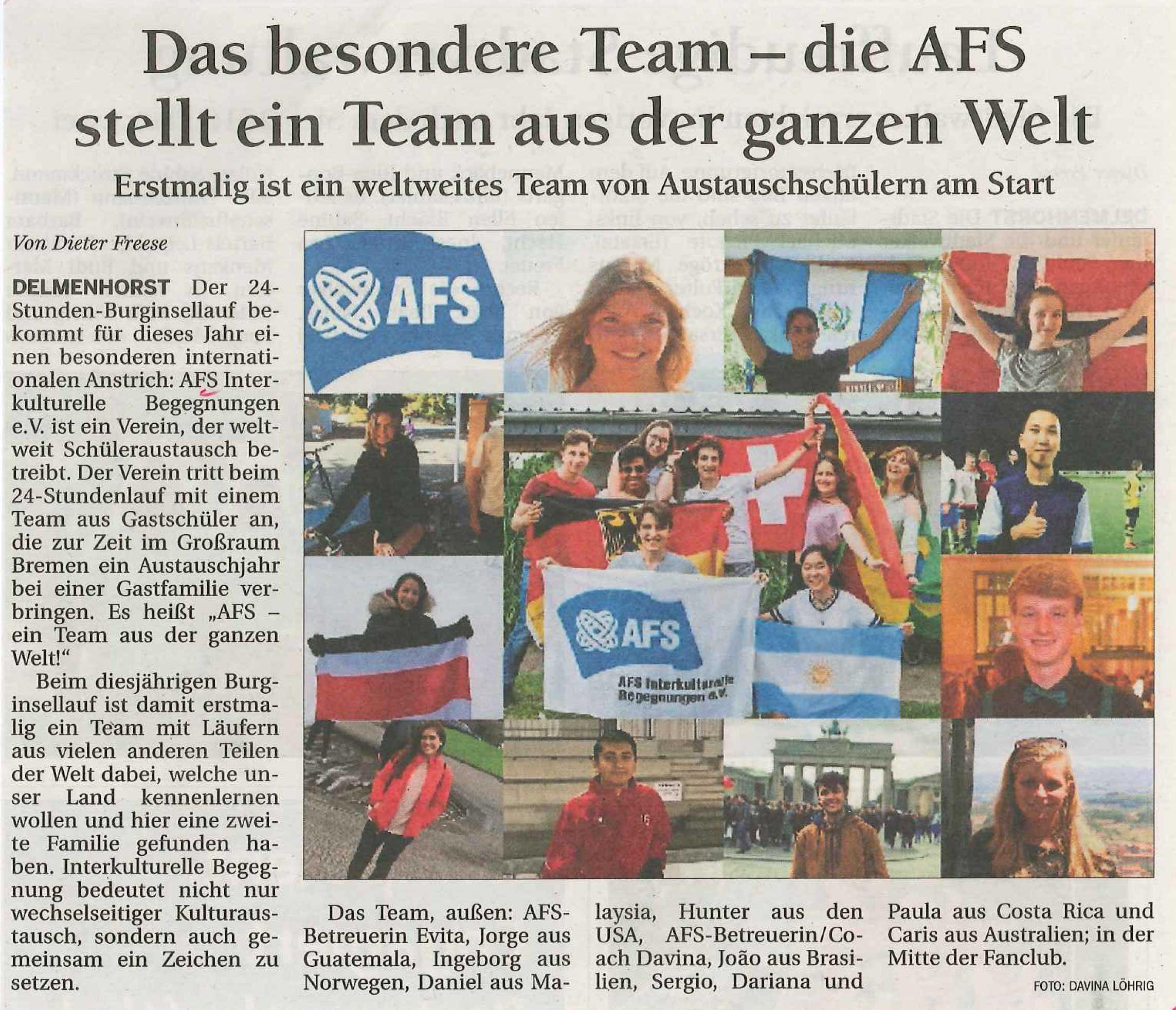 Newsletterbeitrag AFS Läuft um die Welt